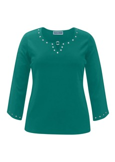Karen Scott 3/4-Sleeve Studded Cotton Top, Created for Macy's