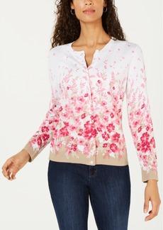 Karen Scott Allover Floral-Print Cardigan Sweater, Created for Macy's