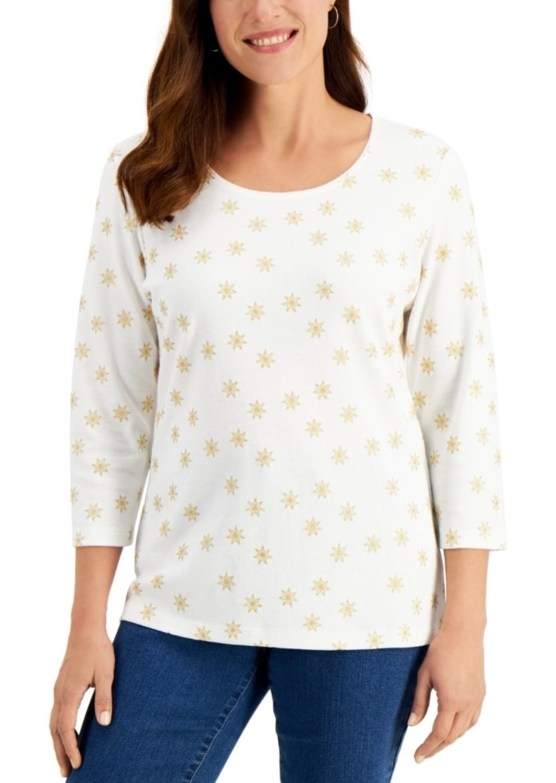 Karen Scott Astrid Shine Glitter-Print Top, Created for Macy's
