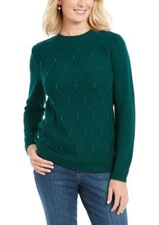 Karen Scott Beaded Cable Mock Neck Sweater, Created For Macy's