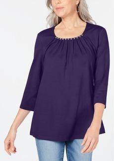 Karen Scott Beaded Scoop-Neck Top, Created for Macy's