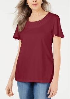 Karen Scott Basketweave-Trim Flutter-Sleeve Top, Created for Macy's