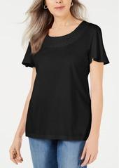Karen Scott Basketweave-Trim Flutter-Sleeve Top, Created for Macy's