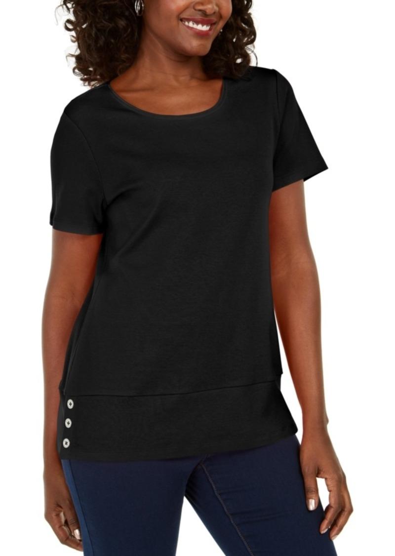 Karen Scott Button-Hem Scoop-Neck Cotton Top, Created for Macy's