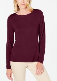Karen Scott Button-Shoulder Sweater, Created for Macy's