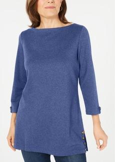 Karen Scott Button-Side 3/4-Sleeve Cotton Top, Created for Macy's