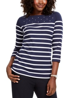 Karen Scott Colorblocked Studded Top, Created For Macy's