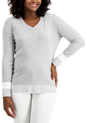 Karen Scott Colorblocked V-Neck Top, Created for Macy's