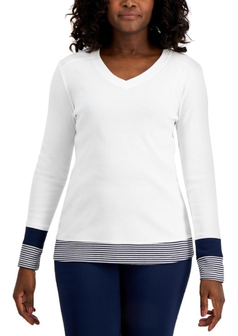 Karen Scott Colorblocked V-Neck Top, Created for Macy's