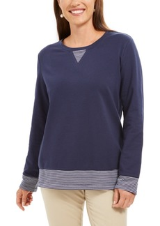 Karen Scott Contrast-Hem Sweatshirt, Created For Macy's