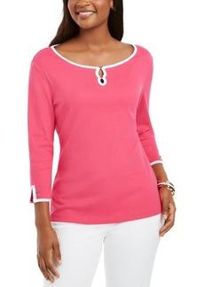 Karen Scott Contrast-Trim Cotton Top, Created For Macy's