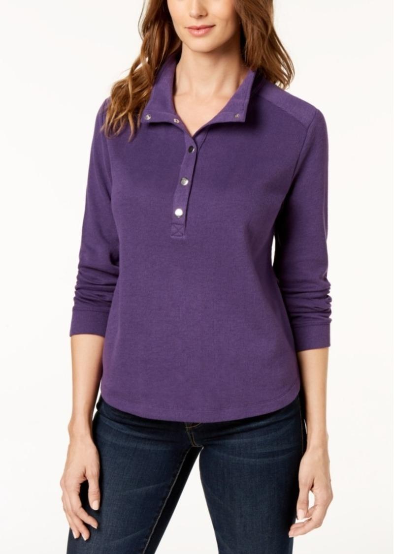 Karen Scott Sport Wing-Collar Snap-Front Top, Created for Macy's