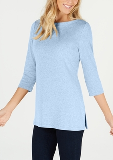 Karen Scott Cotton Boat-Neck 3/4-Sleeve Knit Top, Created for Macy's