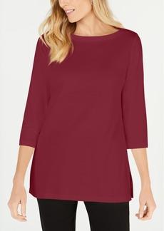 Karen Scott Cotton Boat-Neck 3/4-Sleeve Knit Top, Created for Macy's