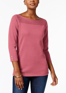 Karen Scott Cotton Boat-Neck Top, Created for Macy's