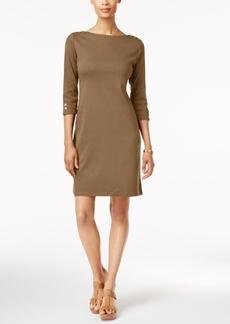 Karen Scott Cotton Button-Detail Sheath Dress, Created for Macy's