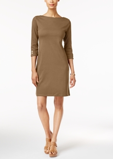 Karen Scott Cotton Button-Detail Sheath Dress, Only at Macy's