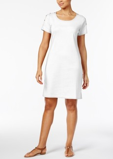 Karen Scott Cotton Button-Shoulder T-Shirt Dress, Only at Macy's