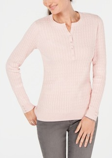 Karen Scott Petite Cotton Ribbed Henley Sweater, Created for Macy's