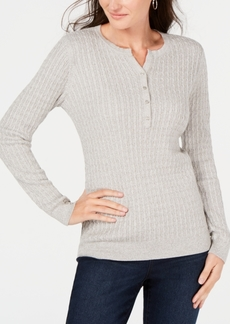 Karen Scott Cotton Cable-Knit Henley Sweater, Created for Macy's