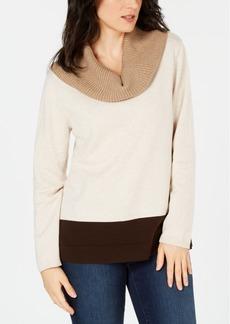 Karen Scott Cotton Colorblocked Cowl-Neck Sweater, Created for Macy's