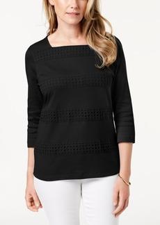 Karen Scott Cotton Crochet-Stripe Top, Created for Macy's