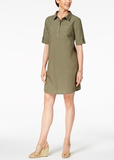 Karen Scott Cotton Cuffed-Sleeve Shirtdress, Created for Macy's