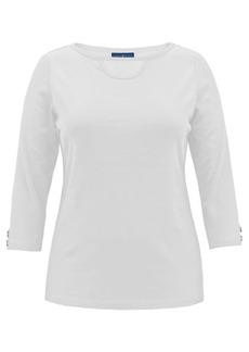 Karen Scott Cotton Cutout Boatneck T-Shirt, Created for Macy's