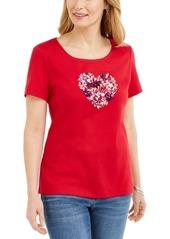 Karen Scott Cotton Embellished Heart Top, Created for Macy's