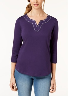Karen Scott Cotton Embellished Top, Created for Macy's