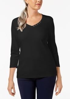 Karen Scott Cotton Embellished V-Neck Top, Created for Macy's
