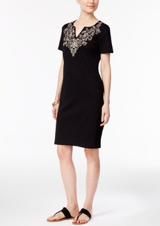 Karen Scott Cotton Embroidered T-Shirt Dress, Only at Macy's