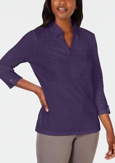 Karen Scott Cotton Eyelet-Yoke Top, Created for Macy's