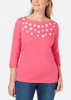 Karen Scott Cotton Floral-Applique Top, Created for Macy's