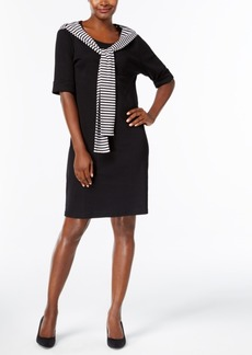 Karen Scott Cotton Front-Tie Shift Dress, Created for Macy's
