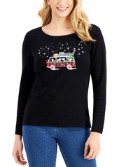 Karen Scott Cotton Graphic Top, Created for Macy's