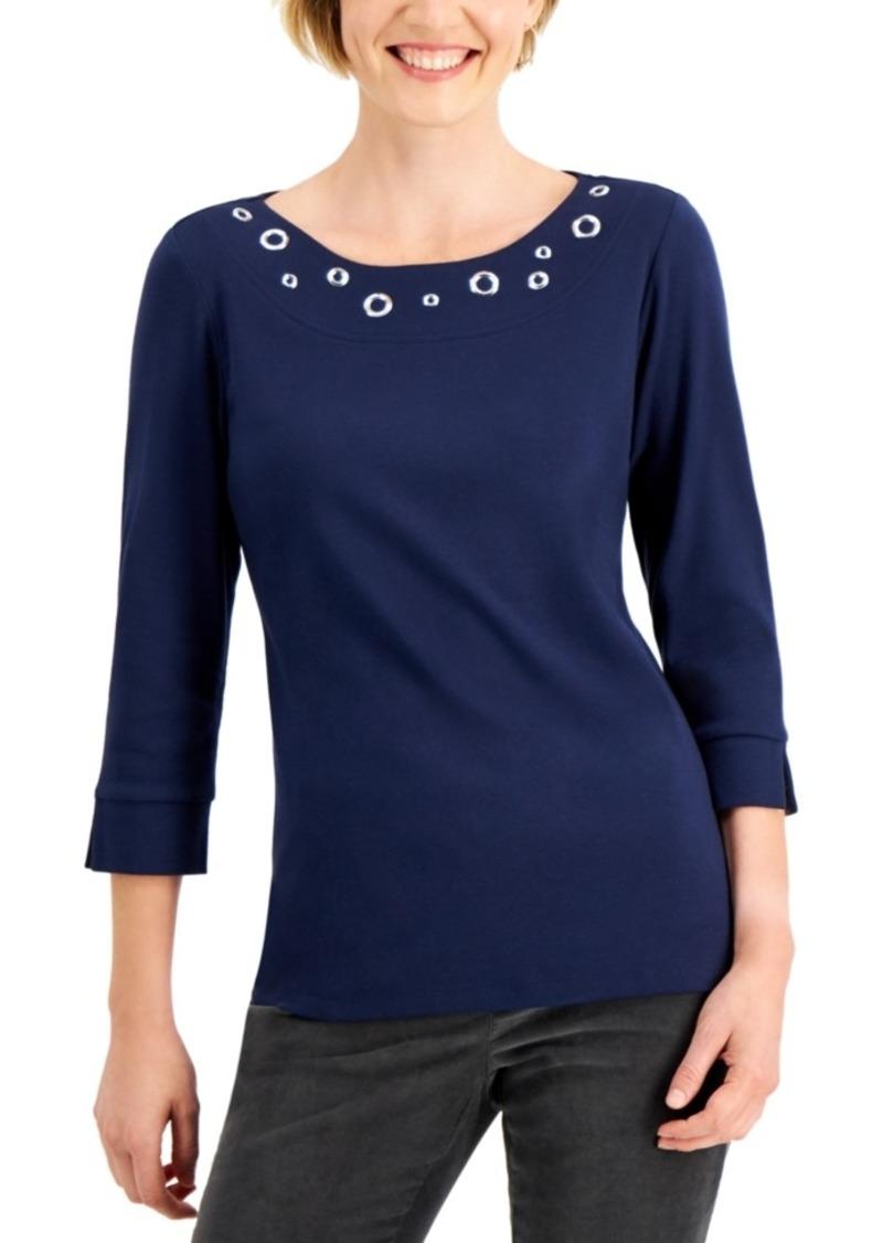 Karen Scott Cotton Grommet Top, Created for Macy's