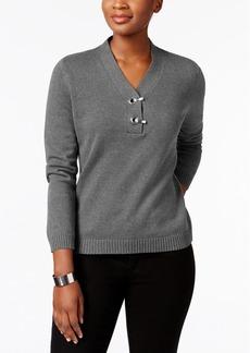 Karen Scott Cotton Hardware-Detail Sweater, Created for Macy's