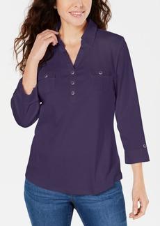 Karen Scott Cotton Johnny-Collar Utility Shirt, Created for Macy's