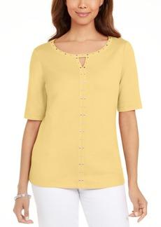 Karen Scott Cotton Keyhole Studded Top, Created for Macy's