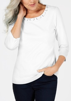 Karen Scott Cotton Lace-Through-Neck Top, Created for Macy's