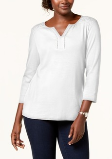 Karen Scott Cotton Lace-Trim Top, Created for Macy's