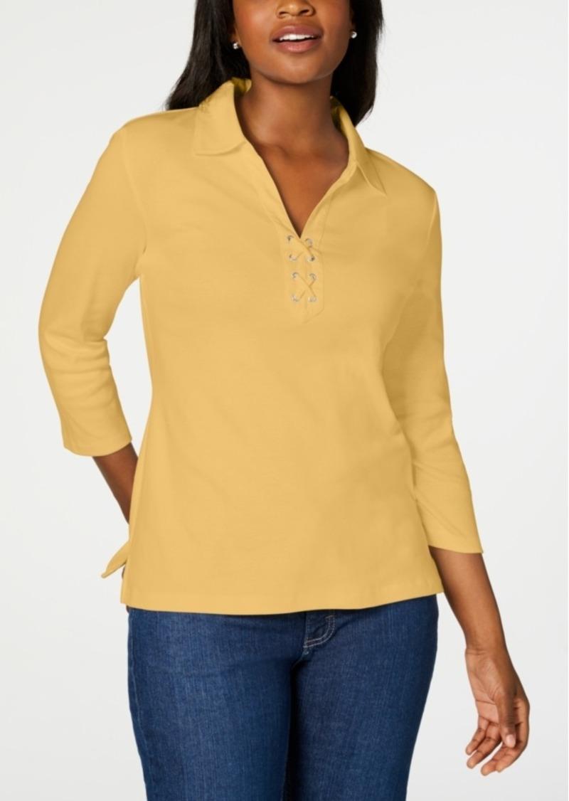 Karen Scott Cotton Lace-Up Shirt, Created for Macy's