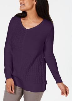 Karen Scott Cotton Mixed-Stitch Sweater, Created for Macy's