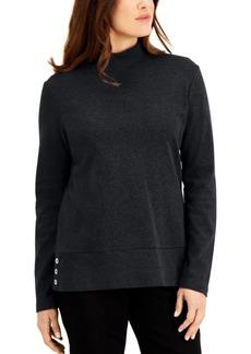 Karen Scott Cotton Mock-Neck Button-Hem Top, Created for Macy's