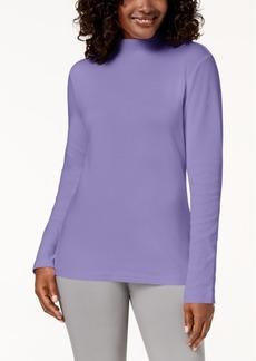 Karen Scott Petite Long-Sleeve Mock-Neck Cotton Top, Created for Macy's