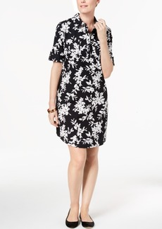 Karen Scott Petite Cotton Floral-Print Shirtdress, Created for Macy's