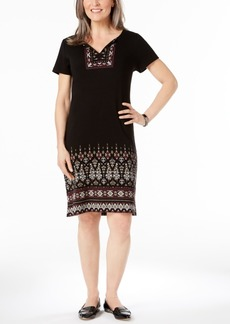 Karen Scott Cotton Puffed-Print Split-Neck Dress, Created for Macy's