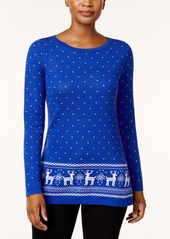 Karen Scott Cotton Reindeer Sweater, Created for Macy's