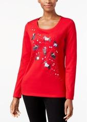 Karen Scott Petite Cotton Holiday Scottie Dog T-Shirt, Created for Macys'